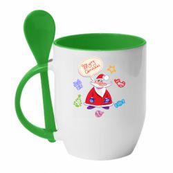 Кружка с керамической ложкой Santa says merry christmas