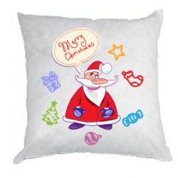 Подушка Santa says merry christmas
