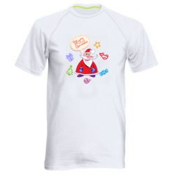 Мужская спортивная футболка Santa says merry christmas