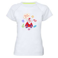 Женская спортивная футболка Santa says merry christmas