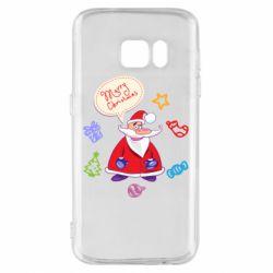 Чехол для Samsung S7 Santa says merry christmas