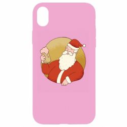 Чехол для iPhone XR Santa with a beer glass