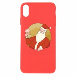 Чехол для iPhone Xs Max Santa with a beer glass