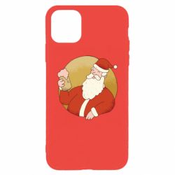 Чехол для iPhone 11 Pro Max Santa with a beer glass