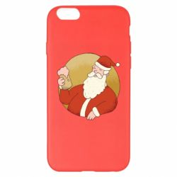 Чехол для iPhone 6 Plus/6S Plus Santa with a beer glass