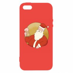 Чехол для iPhone5/5S/SE Santa with a beer glass