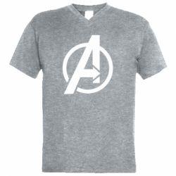 Чоловіча футболка з V-подібним вирізом Сaptain Аmerica logo