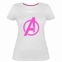 Жіноча стрейчева футболка Сaptain Аmerica logo