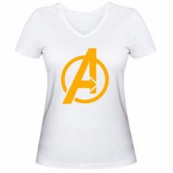 Жіноча футболка з V-подібним вирізом Сaptain Аmerica logo