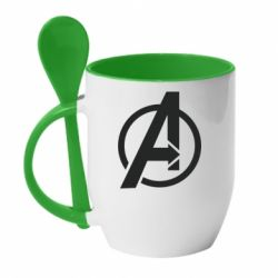 Кружка з керамічною ложкою Сaptain Аmerica logo