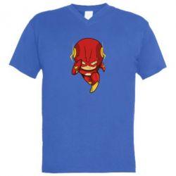 Мужская футболка  с V-образным вырезом Сartoon Flash - FatLine
