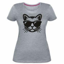 Женская стрейчевая футболка Сat in sunglasses
