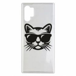 Чехол для Samsung Note 10 Plus Сat in sunglasses