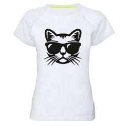 Женская спортивная футболка Сat in sunglasses