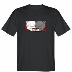 Мужская футболка Сats with plaid and coffee