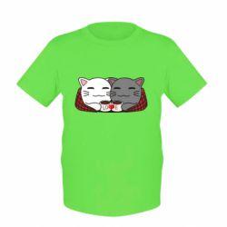 Детская футболка Сats with plaid and coffee