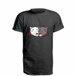 Удлиненная футболка Сats with plaid and coffee