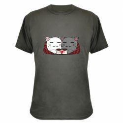Камуфляжная футболка Сats with plaid and coffee