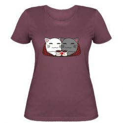 Женская футболка Сats with plaid and coffee