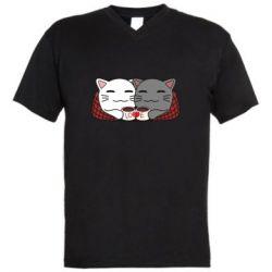 Мужская футболка  с V-образным вырезом Сats with plaid and coffee