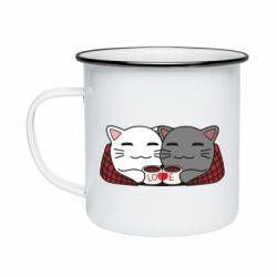 Кружка эмалированная Сats with plaid and coffee