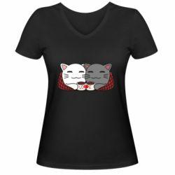 Женская футболка с V-образным вырезом Сats with plaid and coffee
