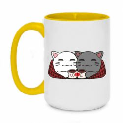 Кружка двухцветная 420ml Сats with plaid and coffee