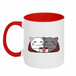 Кружка двухцветная 320ml Сats with plaid and coffee