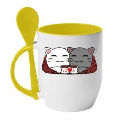 Кружка с керамической ложкой Сats with plaid and coffee