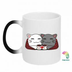Кружка-хамелеон Сats with plaid and coffee