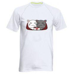 Мужская спортивная футболка Сats with plaid and coffee