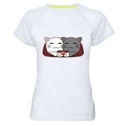 Женская спортивная футболка Сats with plaid and coffee