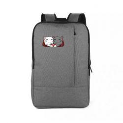 Рюкзак для ноутбука Сats with plaid and coffee