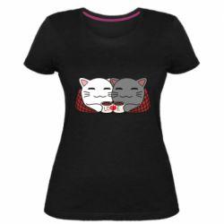 Женская стрейчевая футболка Сats with plaid and coffee