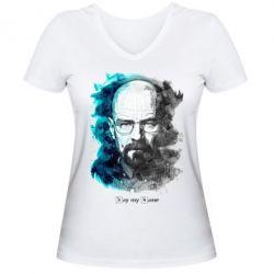 Женская футболка с V-образным вырезом Say my name - FatLine