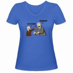 Женская футболка с V-образным вырезом Say my name!! - FatLine