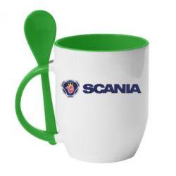 Кружка з керамічною ложкою Scania Logo
