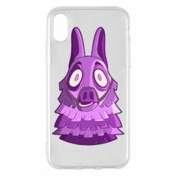 Чохол для iPhone X/Xs Scared llama from fortnite