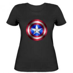 Женская футболка Щит Капитана Америка - FatLine