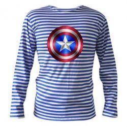 Тельняшка с длинным рукавом Щит Капитана Америка - FatLine