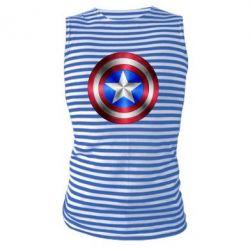 Майка-тельняшка Щит Капитана Америка - FatLine