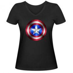 Женская футболка с V-образным вырезом Щит Капитана Америка - FatLine