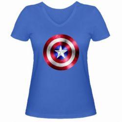 Женская футболка с V-образным вырезом Щит кэпа - FatLine