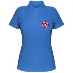 Женская футболка поло Щит кэпа - FatLine