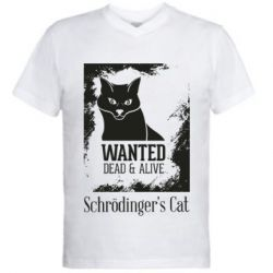 Чоловіча футболка з V-подібним вирізом Schrödinger's cat is wanted