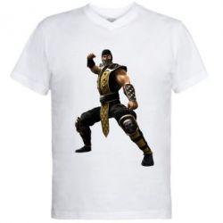 Мужская футболка  с V-образным вырезом Scorpion Art