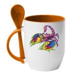Кружка з керамічною ложкою Scorpion tattoo