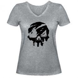 Жіноча футболка з V-подібним вирізом Sea of Thieves skull