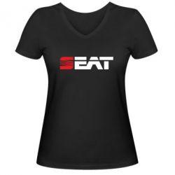 Женская футболка с V-образным вырезом Seat Motors - FatLine