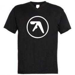 Мужская футболка  с V-образным вырезом selected ambient works - FatLine